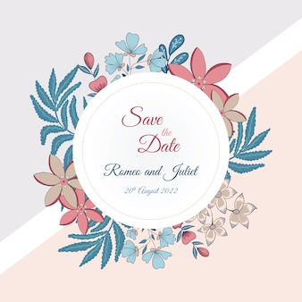 Save the date card with floral style