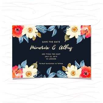 Save the date card with floral watercolor frame