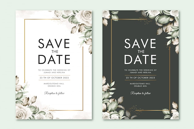 Save the date card with floral watercolor