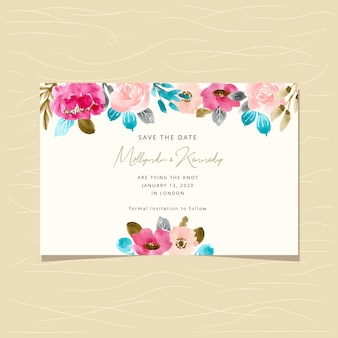 Save the date card with flower watercolor background