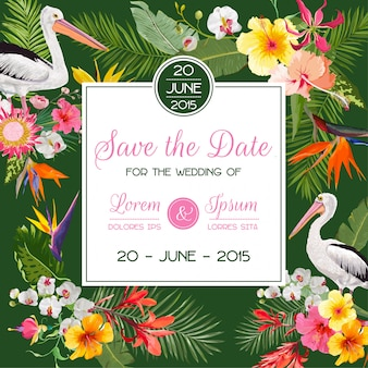 Save the date card with flowers and birds