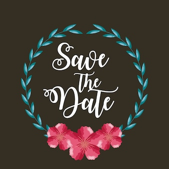 Save the date card with flowers and foliage