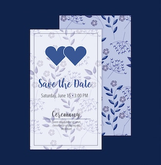 Save the date card with flowers and hearts