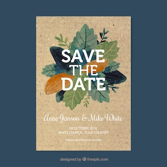 Save the date card with flowers and ornaments