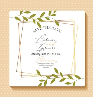 Save the date card with  foliage