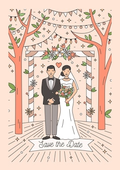 Save the date card with happy newlywed couple