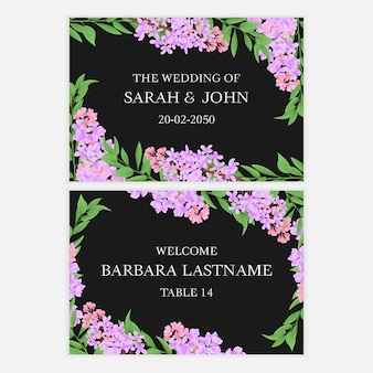 Save the date card with lilac flower bouquet
