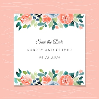 Save the date card with pretty watercolor floral frame