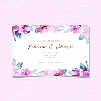 Save the date card with soft purple green watercolor background