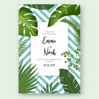 Save the date card with tropical exotic leaves