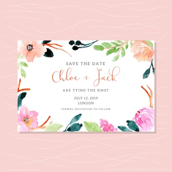 Save the date card with watercolor floral frame