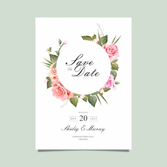 Save the date card with watercolor flower vector
