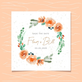 Save the date card with watercolor orange floral wreath