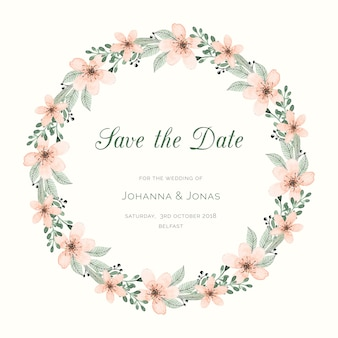 Save the date card with watercolor wreath