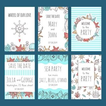Сохраните карточки свиданий. морские символы парусник снаряды узел рыбы морской дизайн приглашения празднование свадебных векторных карт. иллюстрация сохранить дату морской вечеринки