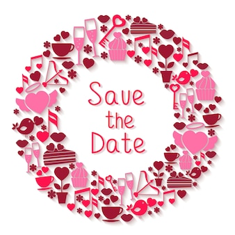Save the date circular symbol with romantic icons depicting hearts