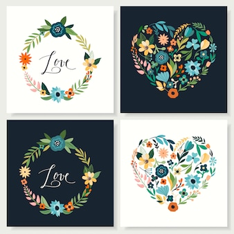Save the date collection with decorative hearts