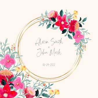 Save the date. colorful floral frame with watercolor