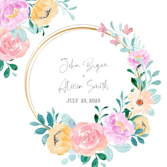 Save the date colorful floral frame with watercolor