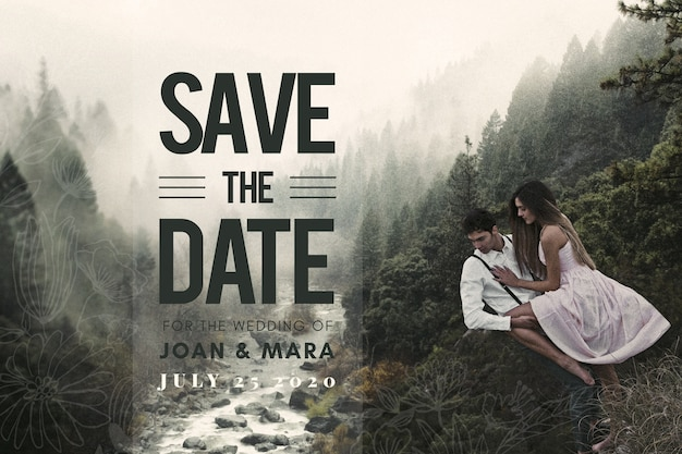 Save the date couple with amazing landscape