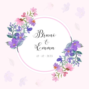 Save the date cute purple pink floral wreath with watercolor