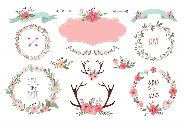 Save the date elements collectionwith wedding items, floral wreaths, bouquets and antlers