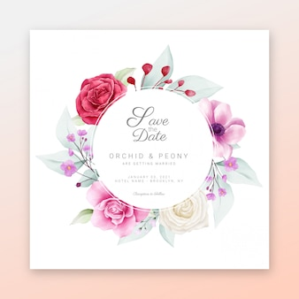 Save the date floral frame with beautiful watercolor flowers