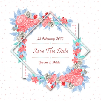 Save the date floral frame with watercolor flowers
