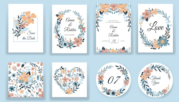 Save the date floral hand drawn cards and invitation collection