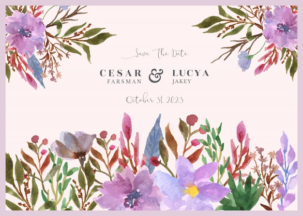 Save the date floral watercolor background