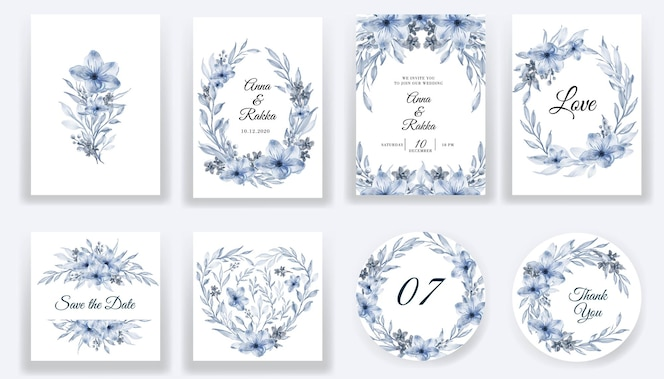 Save the date floral watercolor blue cards and invitation collection