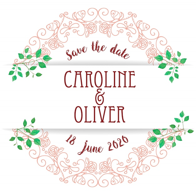 Save the date floral wreath