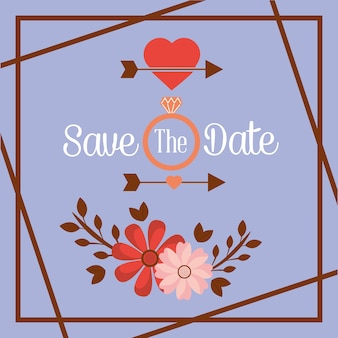 Save the date flower ring arrow romantic card