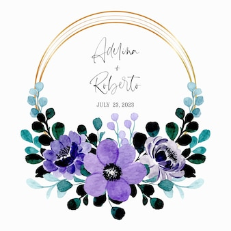 Save the date. green purple floral watercolor wreath with golden frame