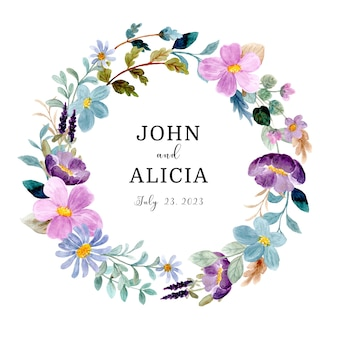 Save the date green purple floral wreath with watercolor