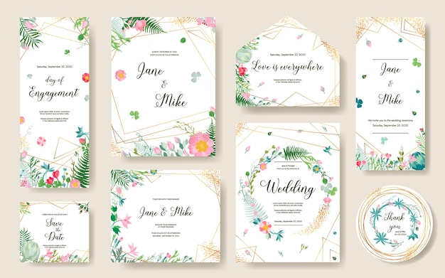 Save the date greenery plants.  rose flower,rsvp, succulent, thank you, tage template.