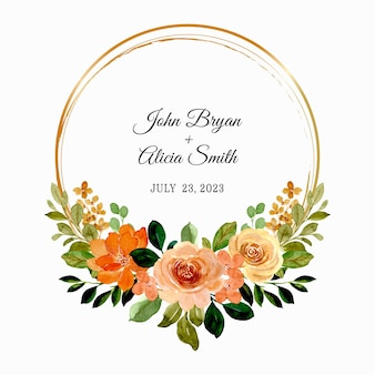 Save the date. hand drawn floral roses wreath with watercolor