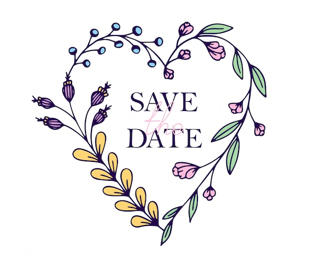 Save the date hand drawn hearts with stylized flowers