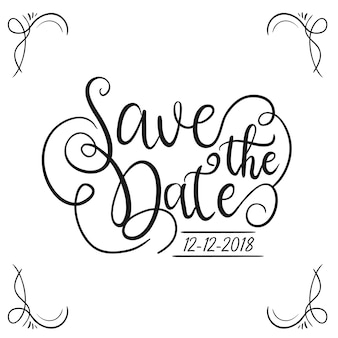 Save the date hand letter style black and white quote