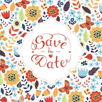 Save the date hand lettering on floral pattern