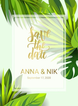 Save the date hand lettering postcard with tropical leaves.