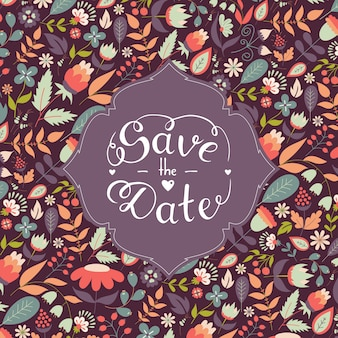Save the date hand lettering with beautiful floral,