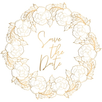 Save the date illustration with golden botanical elements