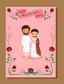 Save the date,indian wedding card with cute bride and groom in traditional dress on wedding invitation card template