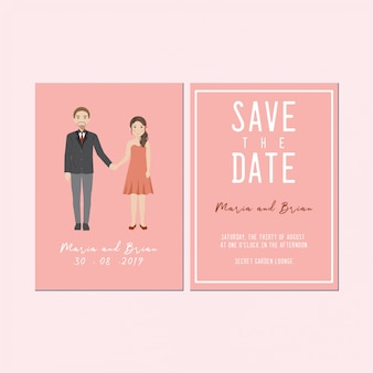Save the date invitation card,  cute couple