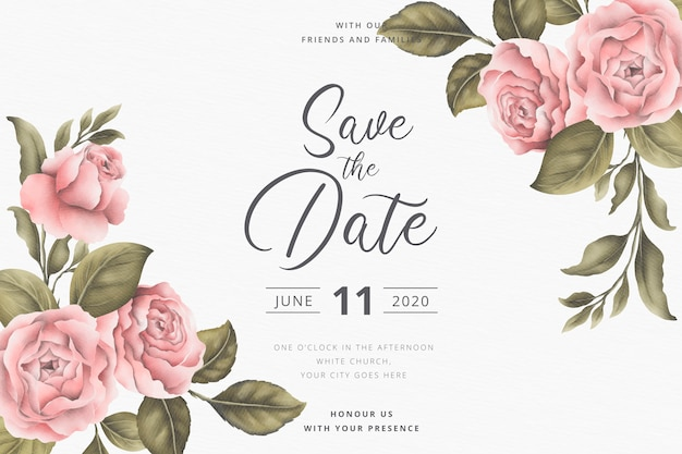 Save the date invitation card with vintage peonies
