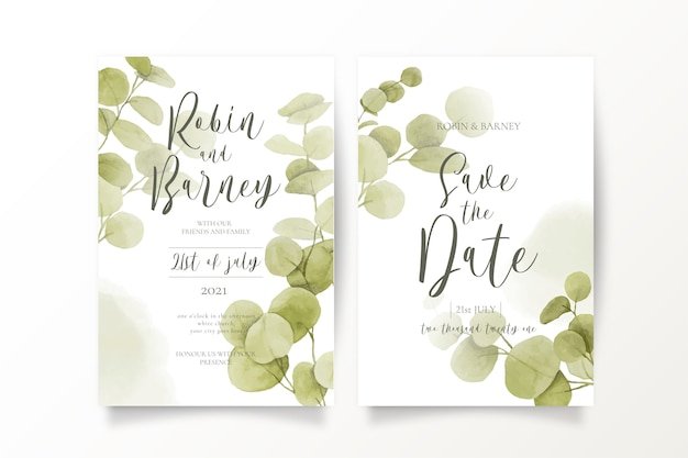 Save the date invitation templates with eucalypt leaves