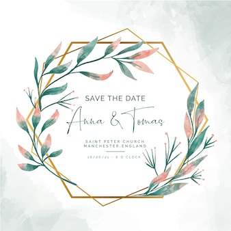 Save the date invitation with elegant golden frame