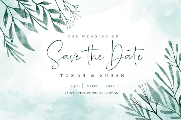 Save the date invitation with elegant leaves