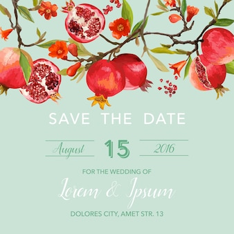 Save the date invitation with floral template